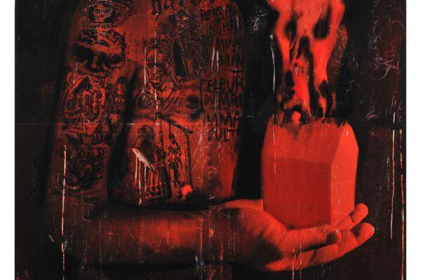 Martin Gerboc, Člověk bez osudu - Autoportrét, 2010-11, akryl, kombinovaná technika, plátno, 120 x 105cm. Foto: Martin Marenčin // Martin Gerboc, Člověk bez osudu - Autoportrét, 2010-11, acrylic, mixed media, canvas, 120 x 105cm. Photo: Martin Marenčin